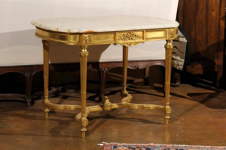 French 19th century louis xvi style onyx top and giltwood for Table th center