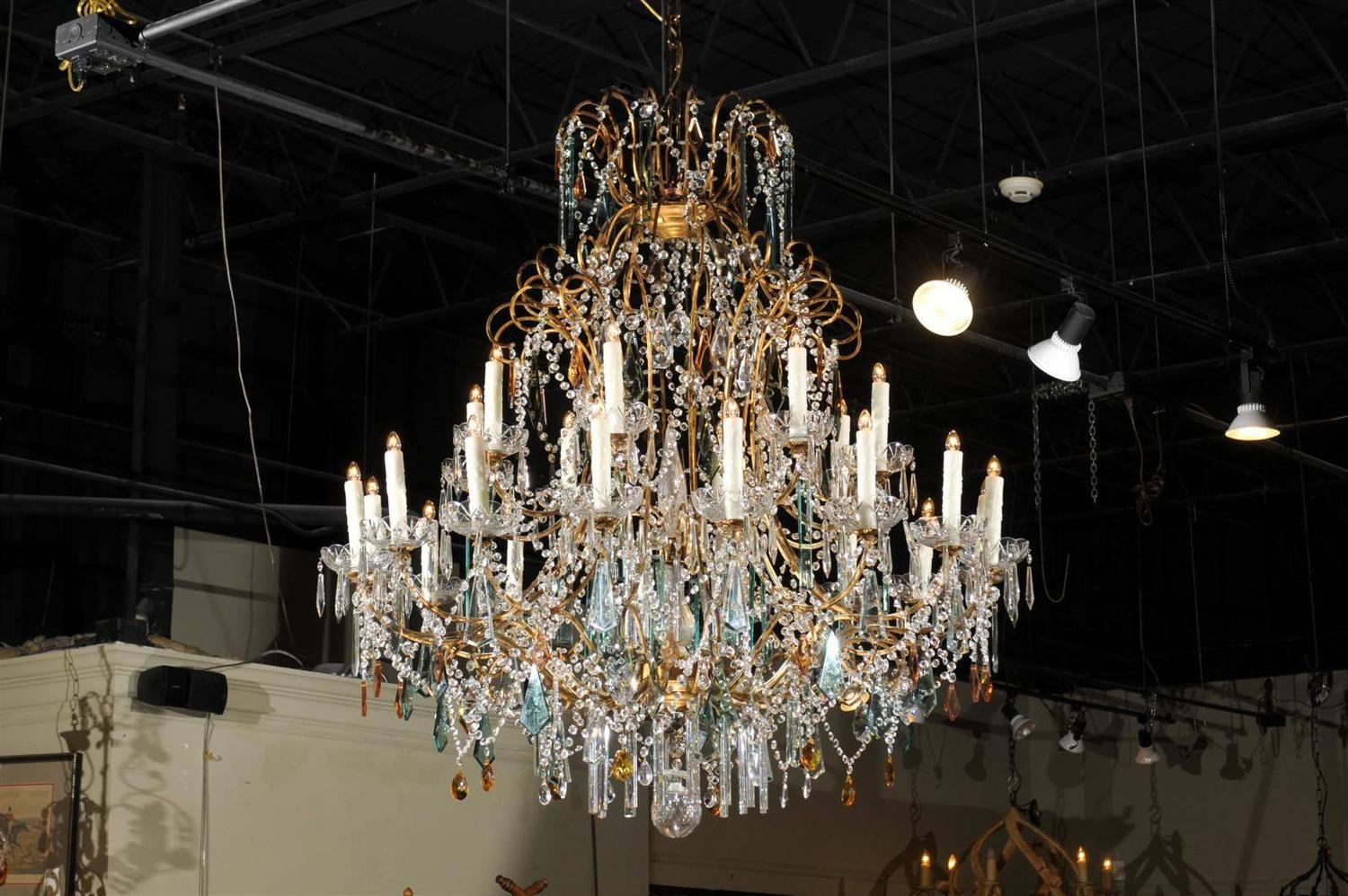 Colored Chandelier Prisms Continental Italian 24 Light