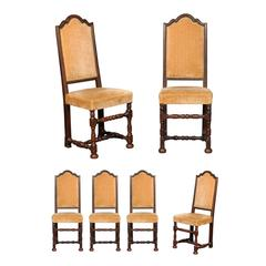 Set Six of Mid-19th Century Florentine Dining Chairs