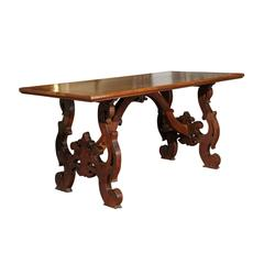 Italian 1820s Baroque Style Walnut Dining Table with Lyre-Shaped Legs
