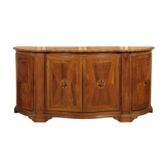 Italian 1860s Walnut, Satinwood and Ebony Inlaid Credenza with Serpentine Front