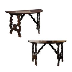 Pair of 1750s Baroque style Tuscan Demi-Lune Console Tables