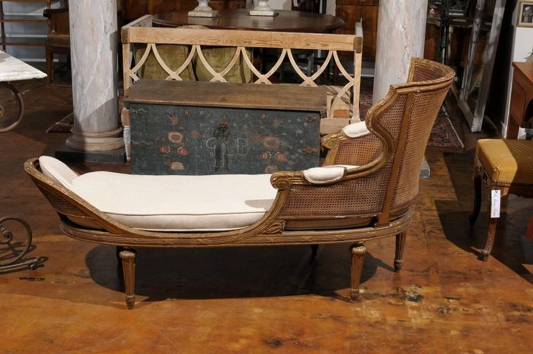 French louis xvi style giltwood double cane chaise longue for Chaise louis xvi