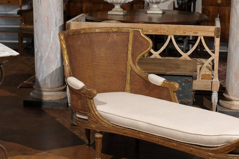 French louis xvi style giltwood double cane chaise longue for Chaise style louis xvi moderne