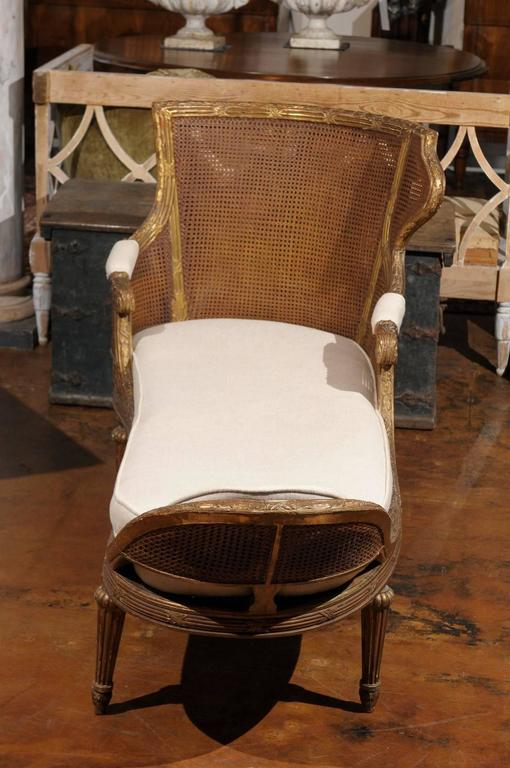 french louis xvi style giltwood double cane chaise longue for sale at 1stdibs. Black Bedroom Furniture Sets. Home Design Ideas