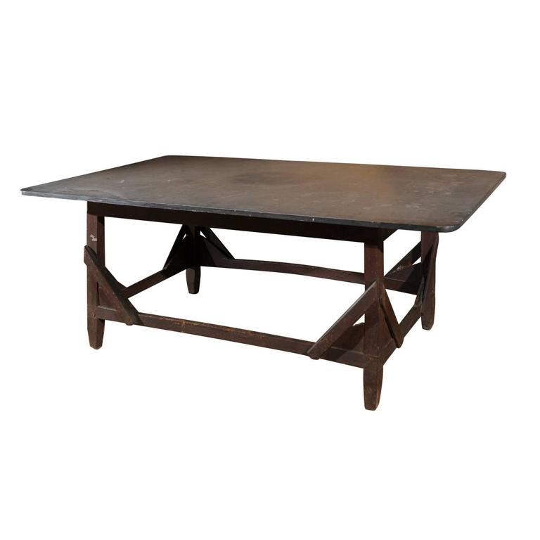 Italian Rustic Work Table with Bluestone Top and Stretchered Wooden Base