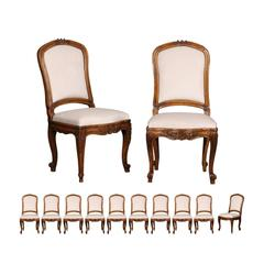 Set of 12 Italian Louis XV Style Upholstered Chairs with Rocailles, circa 1880