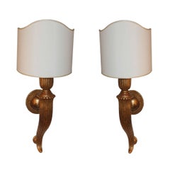 Pair of Horn Sconces with Shades