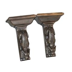 Pair of Silver Leaf Carved Lizard Brackets