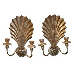 Pair of Hand-Carved Italian Two-Light Sconces