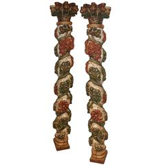 Pair of Late 18th Century Carved Italian Columns