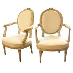 Pair of Louis XV Style Oval Back Armchairs