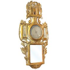 French Louis XV Style Giltwood Barometer Thermometer with Carved Medieval Castle