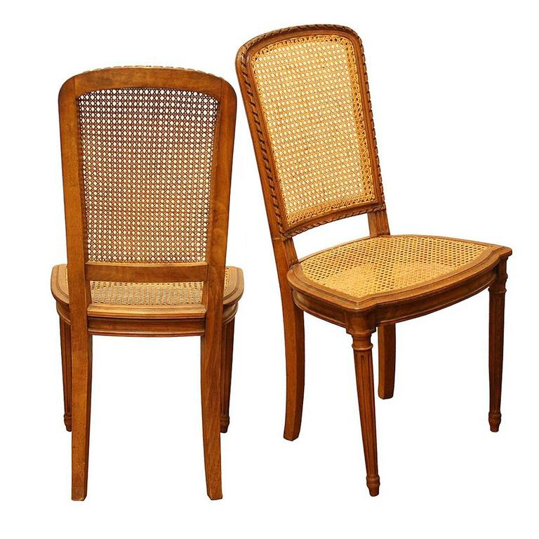 Set of Eight French Vintage Dining Chairs with Cane Seats and Backs, Circa 1950 For Sale