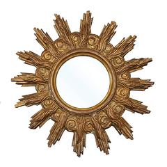 French Late 19th Century Giltwood Mirror with Flames, Sunrays and Cloudy Motifs