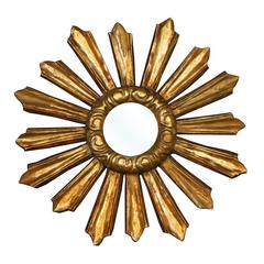 Petite French Late 19th Century Giltwood Sunburst Mirror with Cloudy Frame