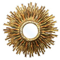 Italian 1890s Giltwood Double Sunburst Mirror with Red and Green Painted Accents