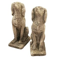 Pair of 18th Century Concrete Talbot Hound Sculptures from Maggiore, Italy