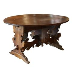 Italian 18th Century Walnut Drop-Leaf Table with Baroque Base and Long Drawer