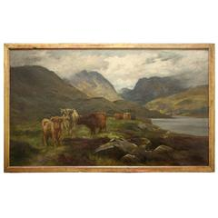 19th Century Painting of Highland Cattle, Signed by Wright Barker