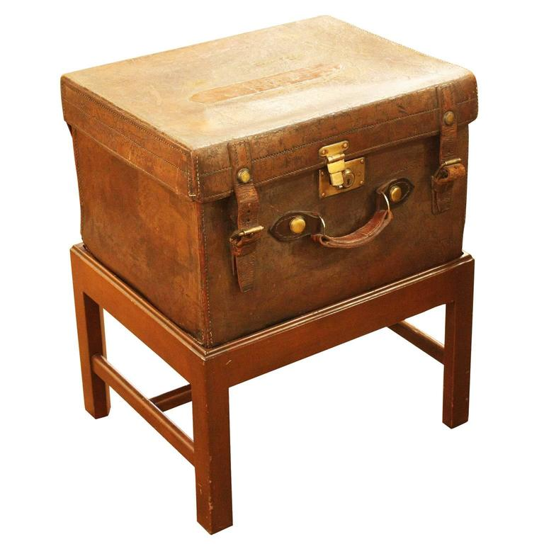 19th century English leather box on stand.