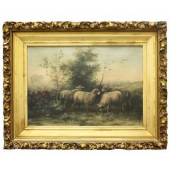 19th Century English Framed Oil Painting of Sheep