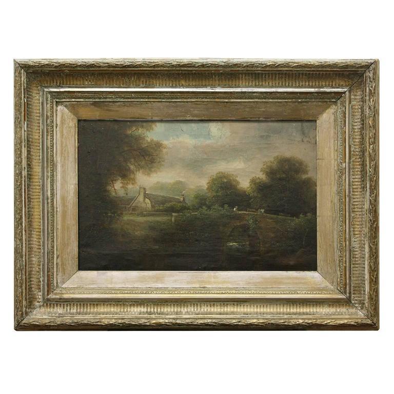 19th Century Framed English Painting of Bridge