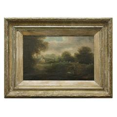 19th Century Framed English Painting of Bridge
