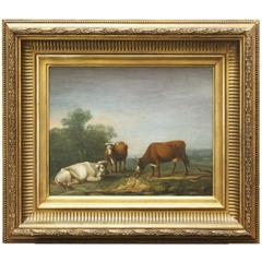 19th C. English Painting on Board of Cows