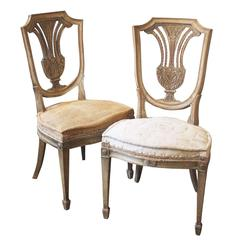 Pair of French Painted Side Chairs