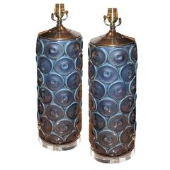Pair of Dark Blue Modern Cylinder Vase on Lucite as Lamps