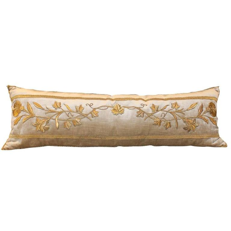 Raised Gold Metallic Embroidery Pillow