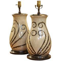 Pair of North Carolina Pottery Lamps