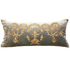 Antique Ottoman Empire Embroidered Blue Velvet Pillow