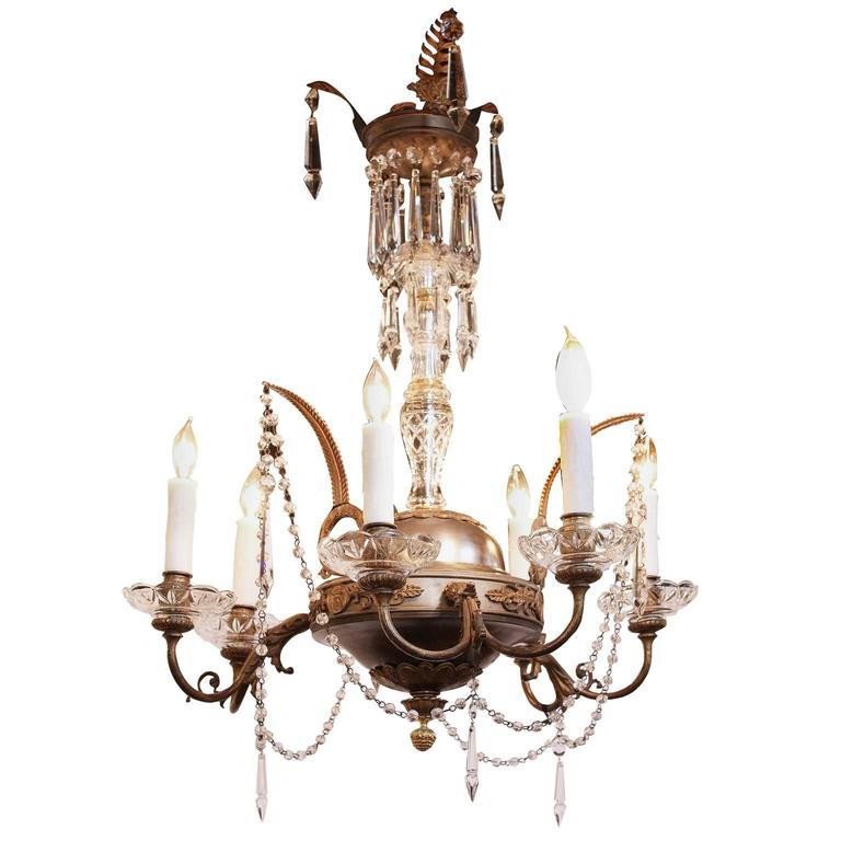 Italian crystal, nickel and brass gas chandelier, early 1800s, offered by Foxglove Antiques