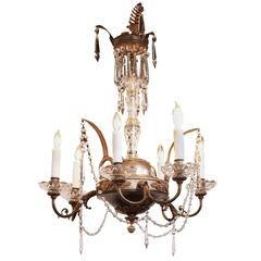 Italian Early 19th Century Crystal, Nickel and Brass Gas Six-Light Chandelier