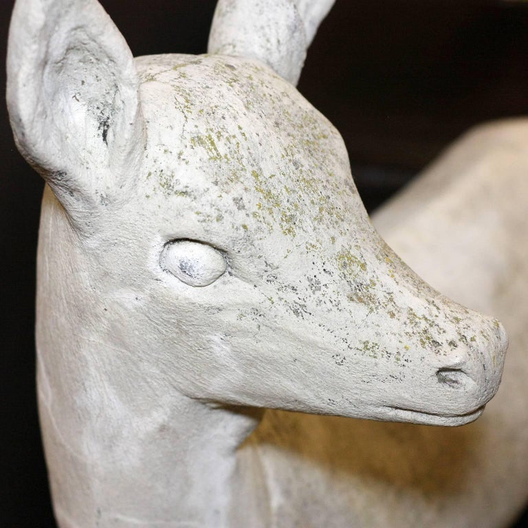Pair of English Mid-Century Cast Stone Sculptures of a Doe and Her Fawn on Base For Sale 3