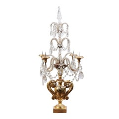 Italian Neoclassical Style Giltwood and Crystal Girandole from the 1890s