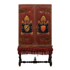 1920s French Leather Armoire on Stand with Tacks and Armorial Crests