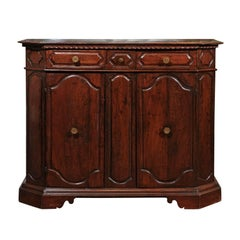 Italian Walnut Buffet with Drawers, Doors and Canted Corners, circa 1850