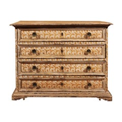 17th Century Florentine Tall Four-Drawer Commode with Painted Floral Motifs