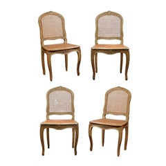 Set of Four French Louis XV Style Dining Room Chairs with Cane Upholstery, 1880s