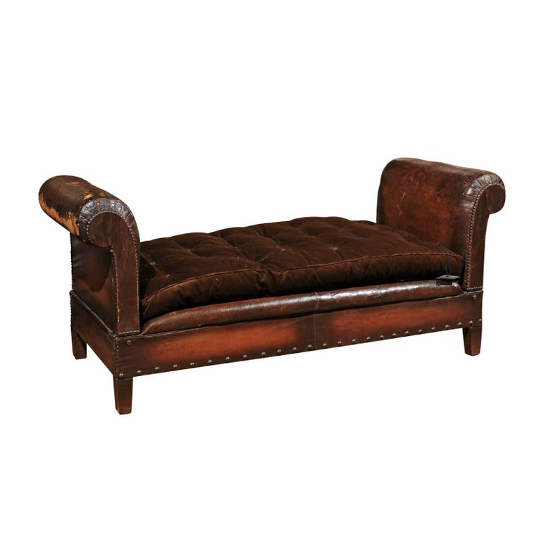 French 1900s Turn of the Century Brown Leather Backless Bench with Folding Arms