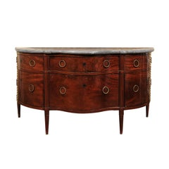 Italian Flaming Mahogany Buffet with Rounded Corners and Fold out Drawers, 1850s