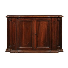Italian 1880s Mahogany Buffet with Banded Inlay, Curved Sides and Molded Plinth