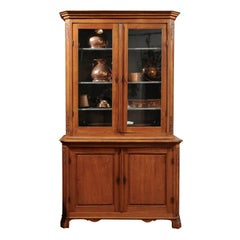 Dutch 1900s Oak Bookcase with Glass Doors, Rocaille Motifs and Canted Side Posts