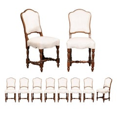 Set of Ten French Chaises à La Reine with Turned Legs with New Upholstery, 1880s