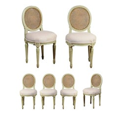Set of Six French Louis XVI Style Painted Dining Chairs with Cane Backs, 1880s