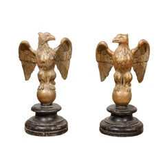 Pair of Italian Giltwood Eagles on Spheres Sculptures on Round Black Plinths