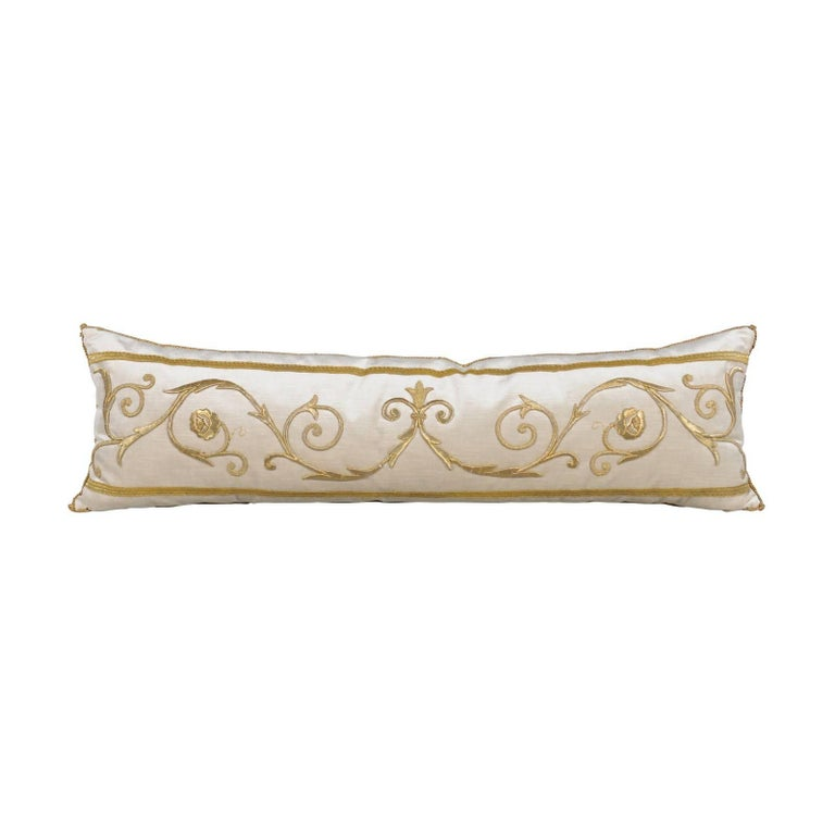 Cushion with Antique European Raised Gold Metallic Embroidery on Oyster Velvet